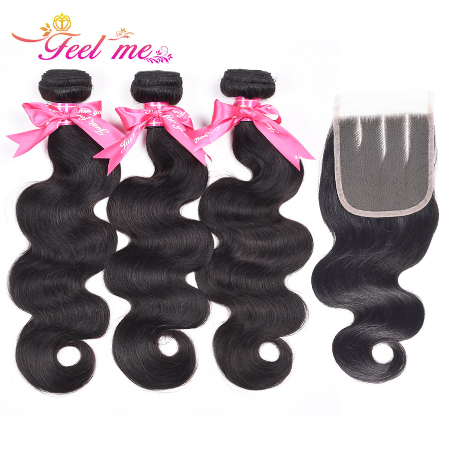 Feel Me Body Wave Bundles with Three Part Closure Non-remy Human Hair 3 Bundles with Lace Closure 10-28 Inch Hair