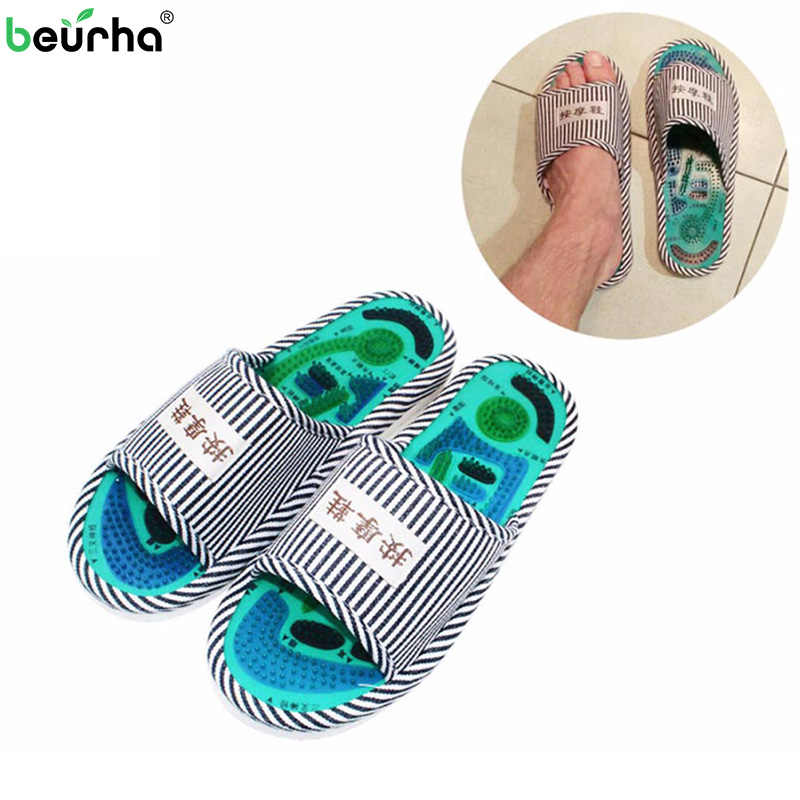 aaa1cf14718 Massage Slippers Acupuncture Feet Massage Shoes For Men Blood Activating  Magnetic Therapy Reflexology Feet Elderly Health
