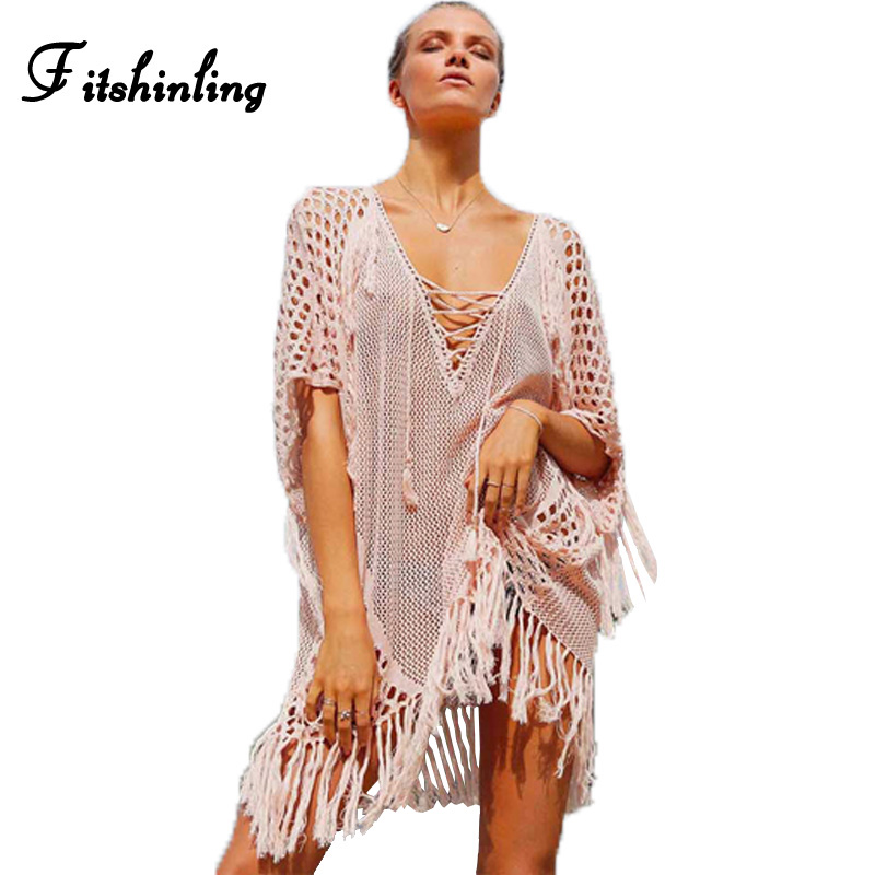Lace up knitted big size knitted beach dress summer fringe hollow out sexy hot party dresses swimwear women clothing pink pareos
