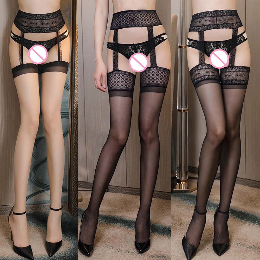 Sexy Lingerie Lace Top Thigh Sheer Tights Elastic Transparent Black Hollow Hollow Mesh Pantyhose