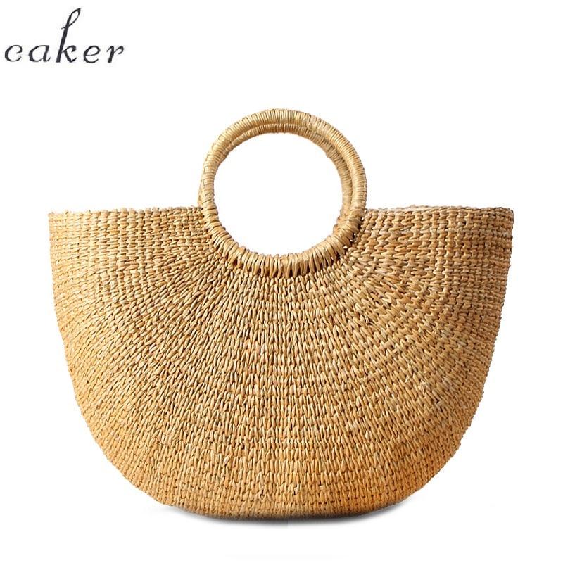 Caker 2018 half Moon Straw Bag Summer Beach Handbag large big Women Causal Shopping Travel Bag Half Circle Woven Shoulder Bags цена
