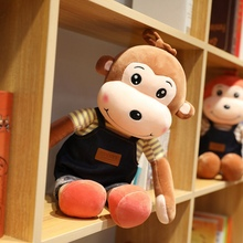 New 1pc 60-90cm Lovely Cartoon Monkey  Strap Pants Cotton Plush Toy Very Soft Doll Throw Pillow Birthday Gift Christmas
