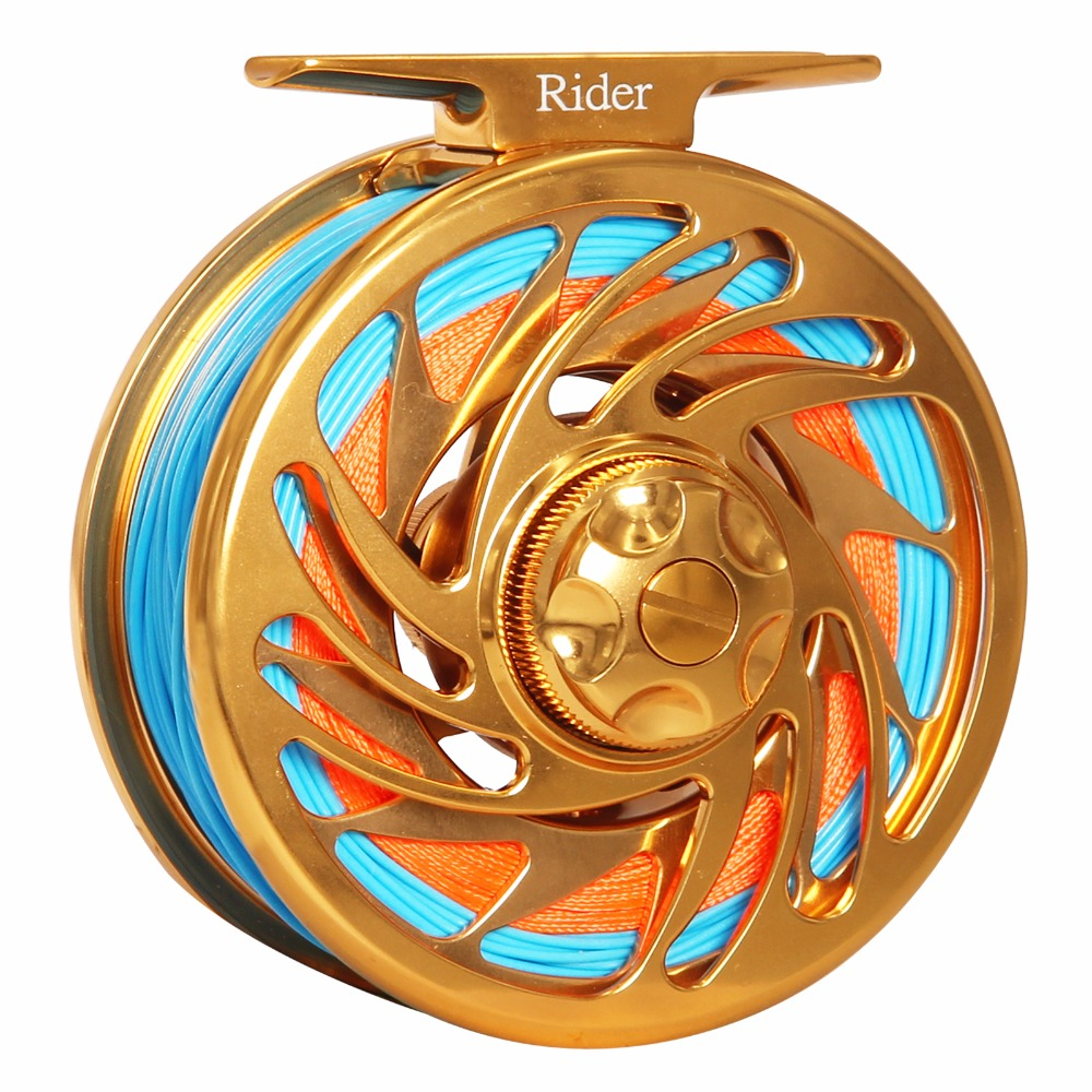 Super Strong Fishing Reel Fly Combo 3/4 5/6 7/8 9/10 WT CNC Machined T6061 Aluminum Large Arbor Gold Color Fly Reel With Line piscifun fly fishing reel platte 3 4 5 6 7 8 9 10 wt cnc machine cut fishing reel large arbor aluminum fly reel302 327 365
