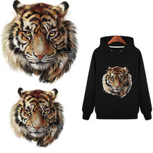 Tiger & Lion Pattern T-shirt Press Heat Transfer Sticker A-level Washable Iron On Appliques For T-shirt Dresses Decoration(China)