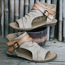 VTOTA Women Sandals Gladiator Peep Toe Buckle Zipper Design Roman Sandals Women Flat Summer Beach Ladies Shoes Chaussure Zapatos