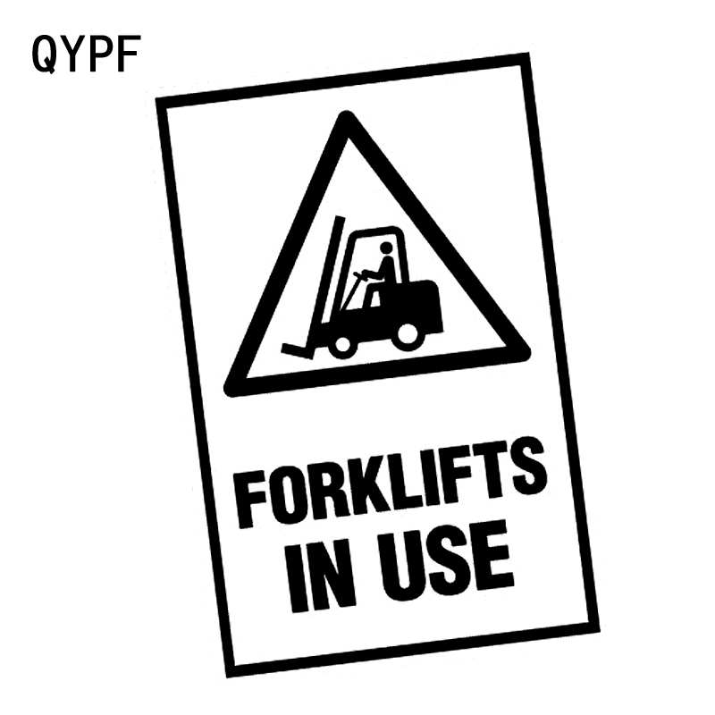 QYPF 10.8CM*15.3CM FORKLIFTS IN USE Warning Graphic Car Sticker Black/Silver Vinyl Decoration S9-2286