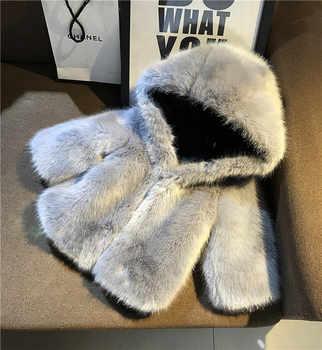Baby Boys Girls Faux Fur Coat Hooded Outerwear Kids Imitation Fluffy Fur Warm Clothes Children Autumn Winter Long Sleeve Jacket