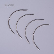 50pcs 6CM C Shape Curved Needles Threader Sewing Weaving Needles for Human Hair Extension Weft Weaving