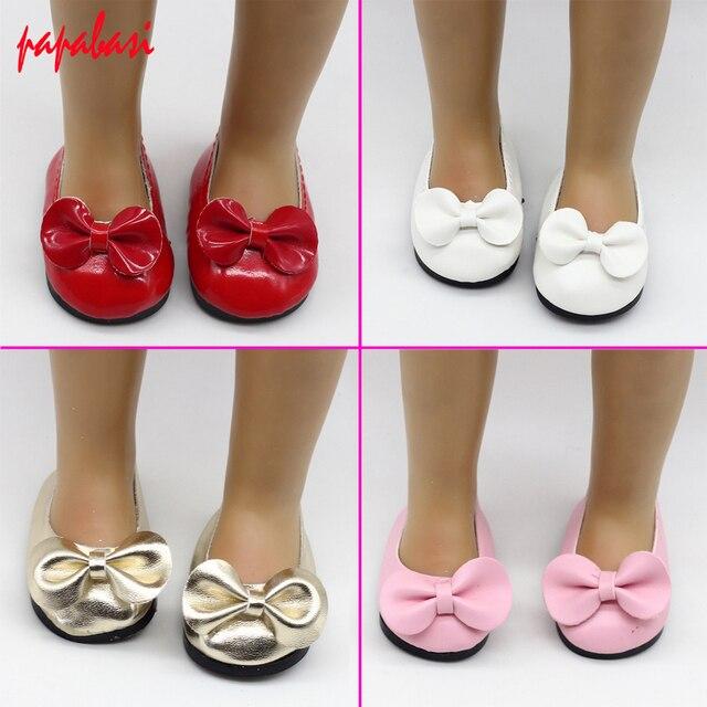 280ff77a98876f PU Lederen Poppen strik schoenen fit 18 Inch Amerikaanse Meisje Pop  Schoenen Accessoires Schoenen 6.8 cm
