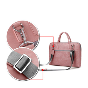Image 3 - Fashion PU Leather Laptop bags for women 14 15 15.6 17.3 inch for macbook air 13 inch casual portable waterproof  Notebook bag