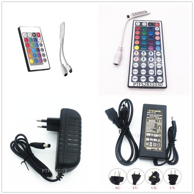 1Pcs DC12V 24key / 44 key RGB IR Remote Controller; 3A / 5A Power supply Adapter For LED Strip light Accessoires SMD 5050 3528