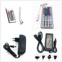 Télécommande RGB 24/44 touches, 1 pièce, adaptateur dalimentation 3a/5a, pour LED bandes lumineuses, Accessoires SMD 5050, 3528