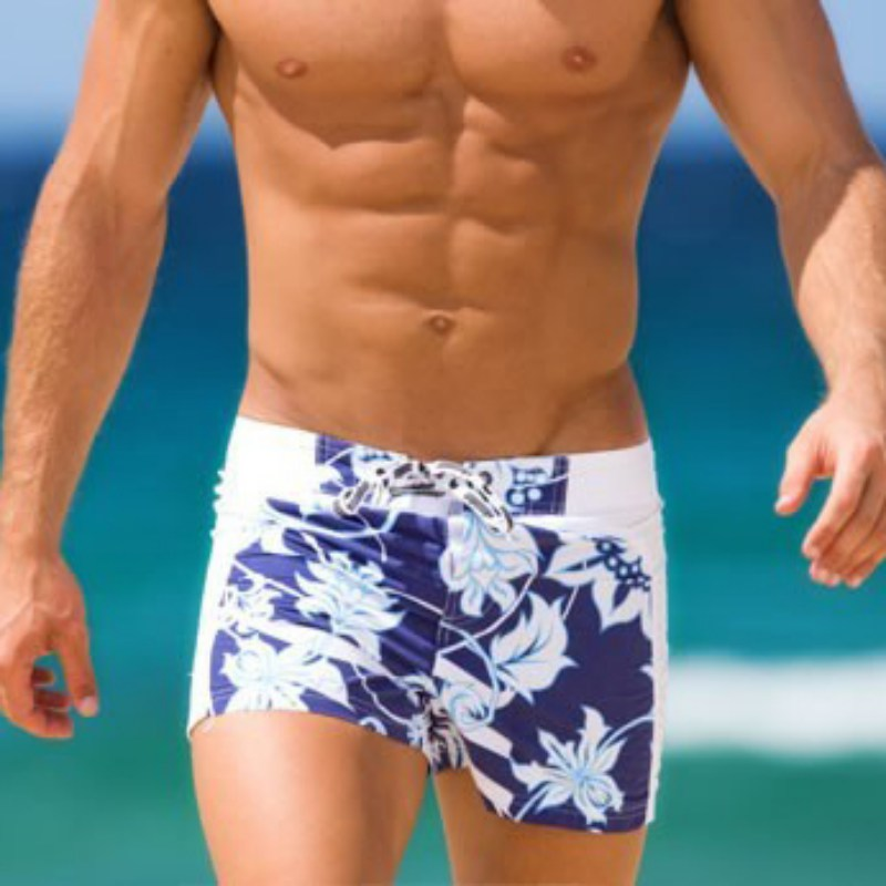 Men Swimming Boxers Flower Pattern Men Swimwear Shorts Beach Pants