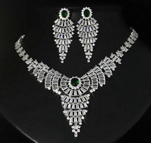 Bijoux de luxe cubique zircon micro réglage gland exquis mariée mariage collier boucle d'oreille bijoux ensemble femmes