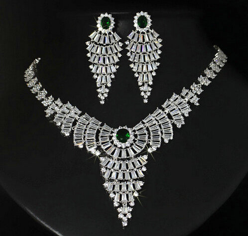 Luxury jewelry cubic zircon micro setting tassel exquisite bridal wedding necklace earring jewelry set women amorita boutique multi layered tassel necklace with exquisite zircon