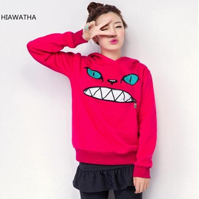 HIAWATHA Hoodies Mulheres Gato Moda Impresso Camisola Polares Engrosse Com Capuz Camisolas Pullovers Casuais HO-085