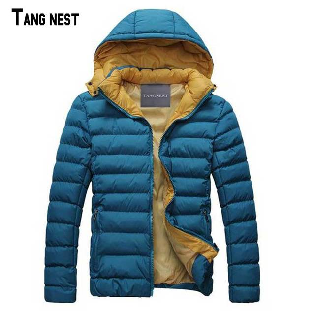 Homens acolchoado casaco tangnest 2017 novos chegada dos homens quentes sólidos acolchoado Jaqueta Masculina Casual Desgaste de Inverno Com Capuz Casaco 4 Cores MWM370