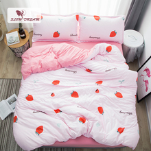 c7267f914d SlowDream Fashion Summer Strawberry Bedding Set Light Luxury Elegant Duvet  Cover Active Printing Set Bed Linen