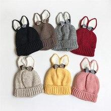 Детские шапки для девочек и мальчиков; вязаная зимняя теплая вязаная шляпа с заячьими ушками для новорожденных; хлопковая шапка для детей; czapki dla dzieci#4S20