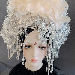 4 ontwerpen Vintage Witte Bruid Tiara Overdrijven Persoonlijkheid Show Model Diamanten Haar Tiara Thematische Fotografie Koningin Kroon