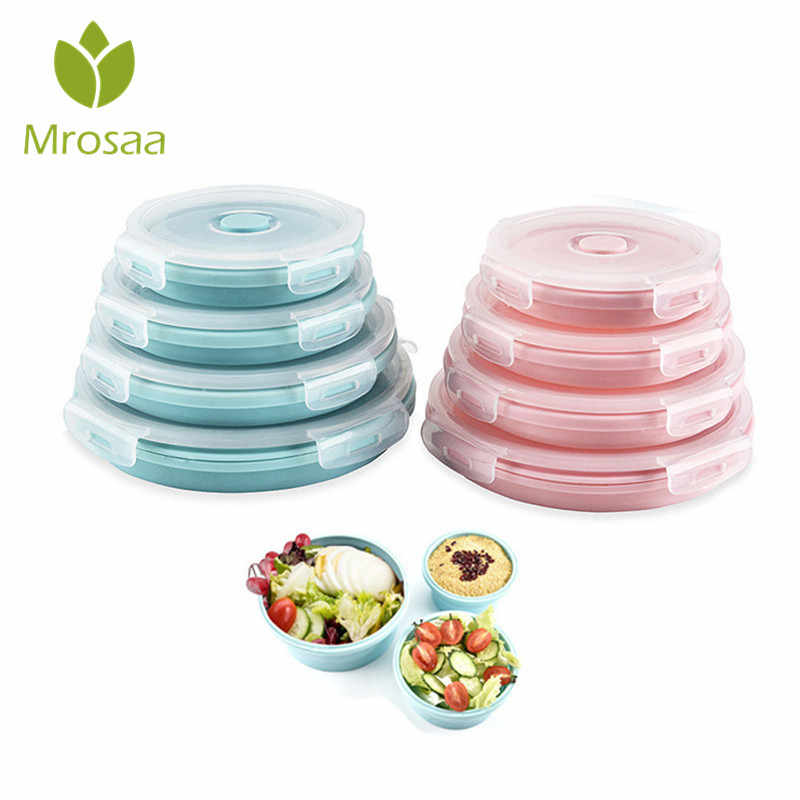 Mrosaa Round Collapsible Lunch Box Stackable Food Storage Containers With Lids Foldable Meal Food Bowl for Kids School