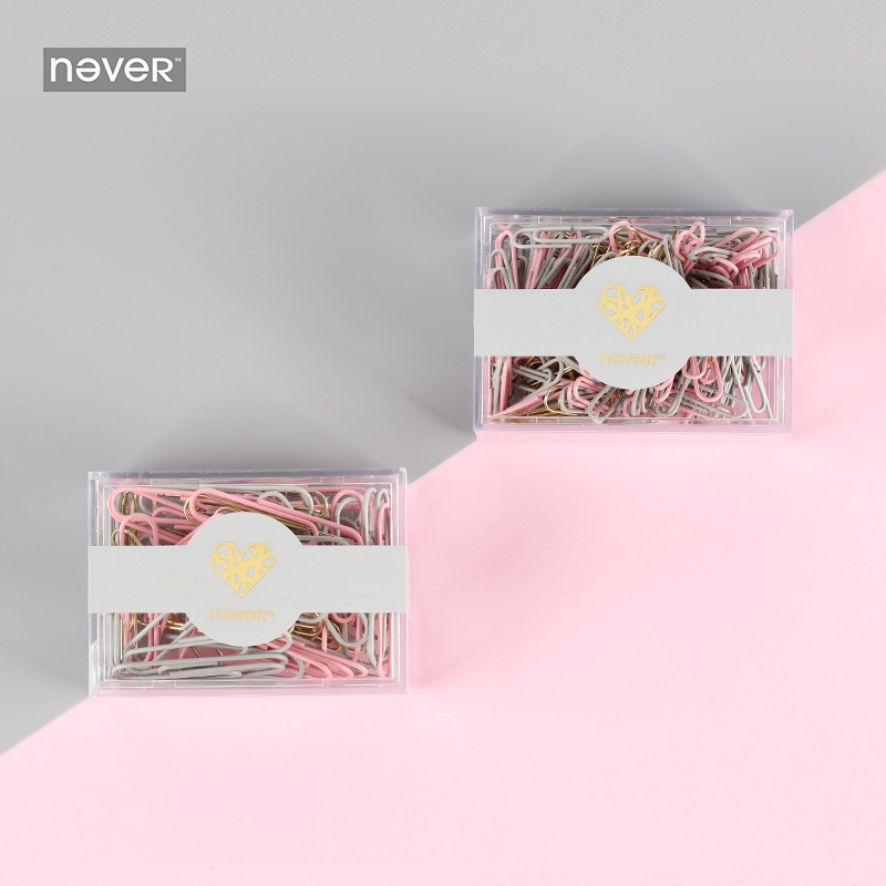 Never Pink Series Paper Clips Gold Grey Pink Macaroon Color Metal Clip Office Decorative Accessories Stationery School Supplies