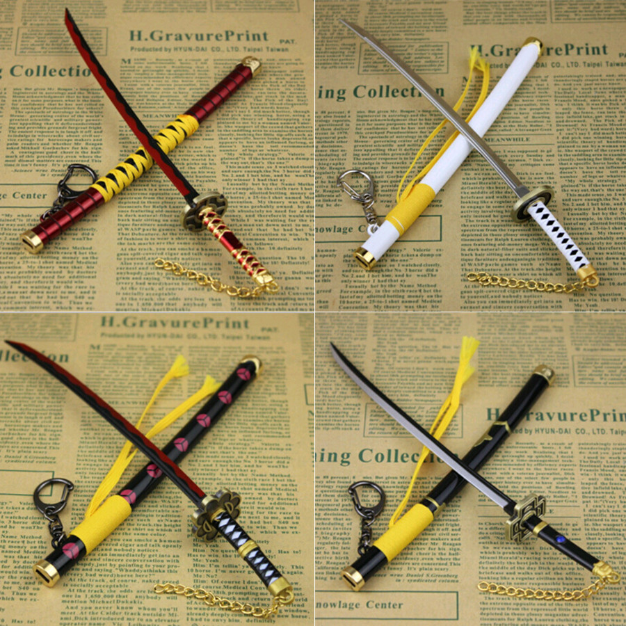 One Piece Key Chain Ornaments Roronoa Zoro Sword Weapon Pirates Decoration Ring