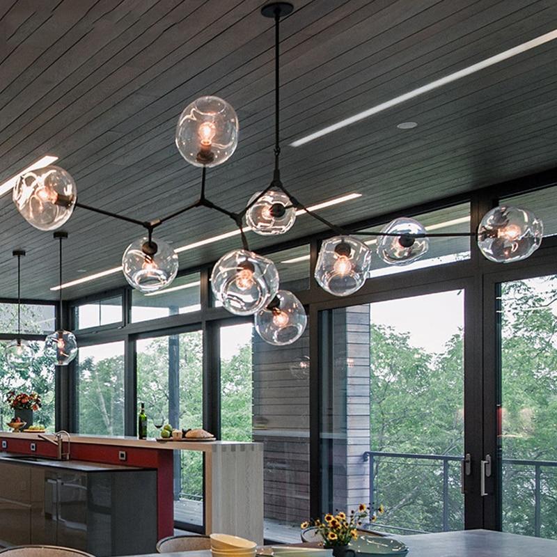 Loft Industrial Chandeliers Globe Glass Lights Modern
