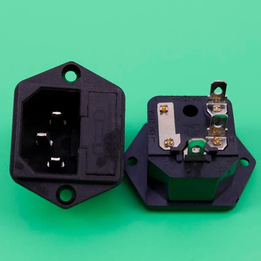 цена на YuXi AC power socket industrial socket 8B C14 power supply ICE Insurance Block belt With ears 15A 250V