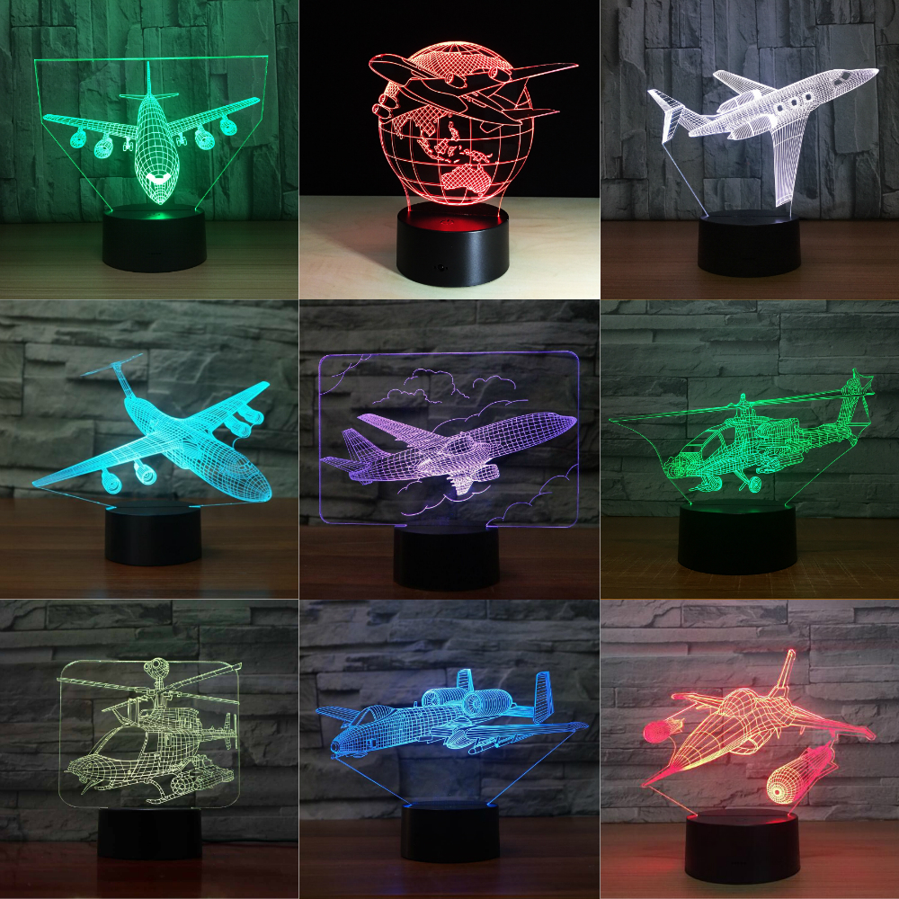 Remote Control Touch Switch Air Plane 3D Light LED Table Lamp Acrylic  Night Light 7 Colors Changing Mood Lamp USB Lamp Kid Gift