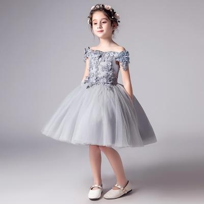 Романтичное свадебное платье подружки невесты с цветочным узором для девочек; Новинка года; длинное кружевное платье с украшением из бисера; праздничное платье с цветочным узором для девочек - Цвет: gray