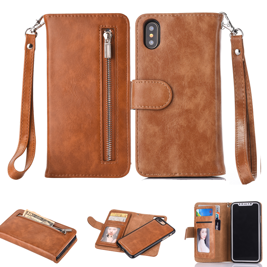 Zipper Wallet Leather <font><b>Case</b></font> For <font><b>iPhone</b></font> Xs Max X <font><b>8</b></font> 7 7 Plus 6 6S Plus Flip Phone <font><b>Case</b></font> Luxury Cover For <font><b>iPhone</b></font> 5 5S <font><b>Magnetic</b></font> <font><b>Case</b></font> image