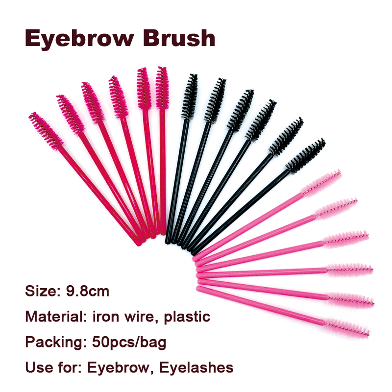 50Pcs Disposable Micro Eyelash Comb Brush Spoolers Makeup Kit Lash Extension Brushes Mascara Applicator Wand Lash Eyebrow Brush 4