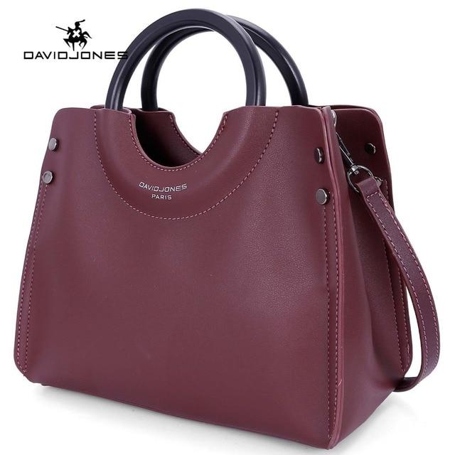 aa7865c15500 DAVIDJONES women handbag faux leather female shoulder bag large lady solid  top handle bag girl brand crossbody bag drop shipping