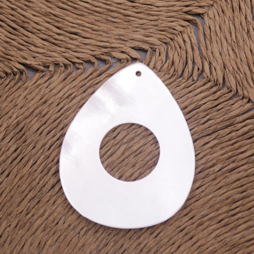 Купить с кэшбэком 35mmX45mm Drop Shell White Mother of Pearl 16mm Hole Jewelry Making DIY