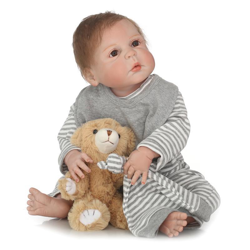 NPKCOLLECTION Lebensechte 23 Zoll Reborn Baby Puppen Volle Silikon Vinyl Körper Babys Puppe Wasserdichte Mädchen Spielzeug Geschenke Bebe Reborn