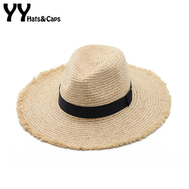 6f570de2 Raffia Straw Panama Hats Large Wide Brim Beach Sun Hats Visor Men Women  Summer Jazz Caps