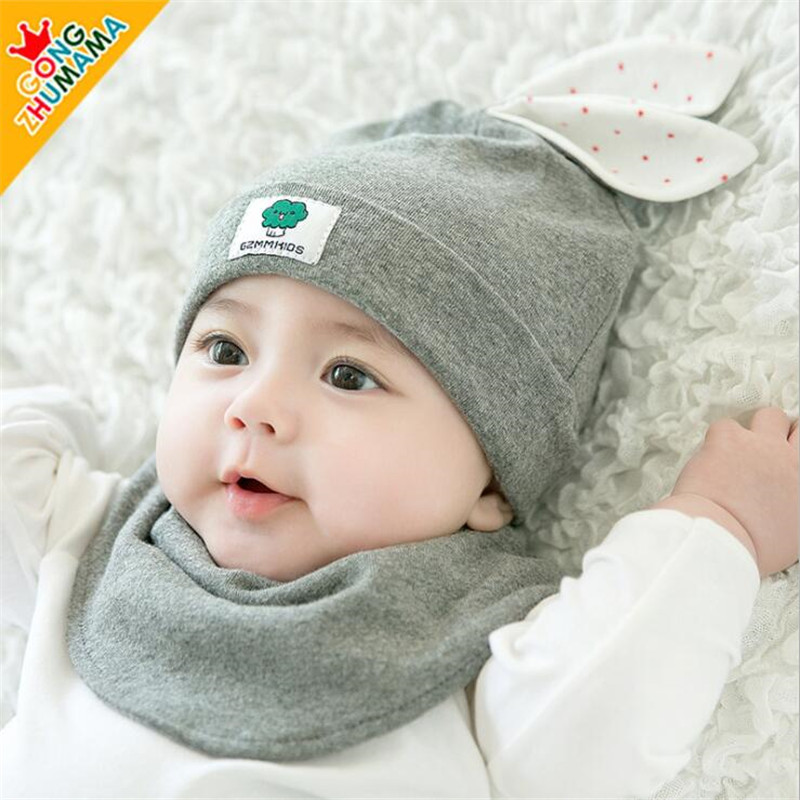 293ec776f4d11d Newborn Baby Boy Girl Cap Hat rabbit ear style Baby Caps Hat Beanie set + Bib  Toddler Beanies hats Baby Accessoriess-in Hats & Caps from Mother & Kids on  ...