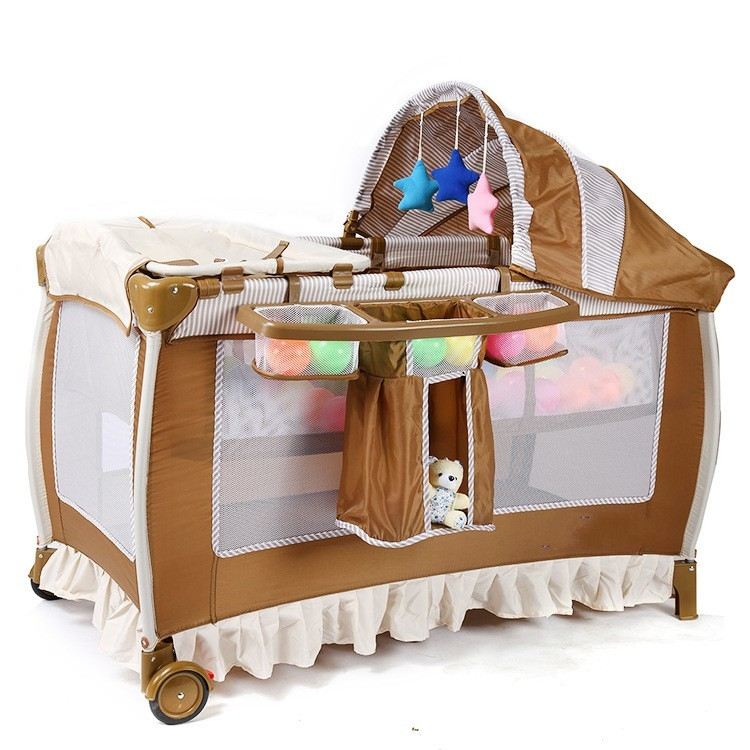 Multifunctional Infant Baby Crib With Casters Portable Safety Foldable Baby Cribs Indoor Baby Game Play Cribs new style multifunctional infant crib casters mosquito nets cot playpen portable safety folding baby cribs