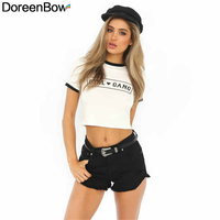 DoreenBow Polyester Women New Fashion T-shirt Printed Letters Heart White Summer Short Sleeves Umbilicals Cool Shirt, 1 Piece