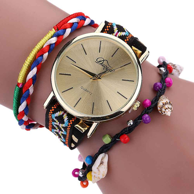 Paradise Hot Precise Fashionable Weave Wrap Around Bracelet Watch Crystal Synthe