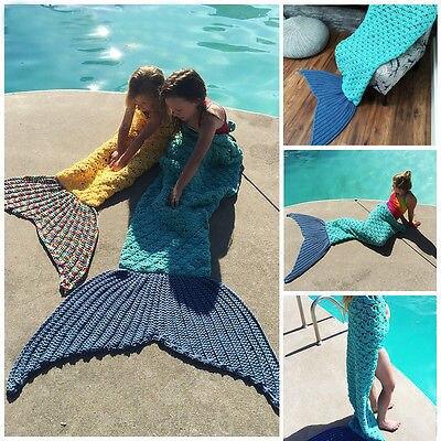 2016 Autumn Winter Super Soft Hand Crocheted Mermaid Tail Blanket Sofa Blanket Kids For boys girl HOT Sale
