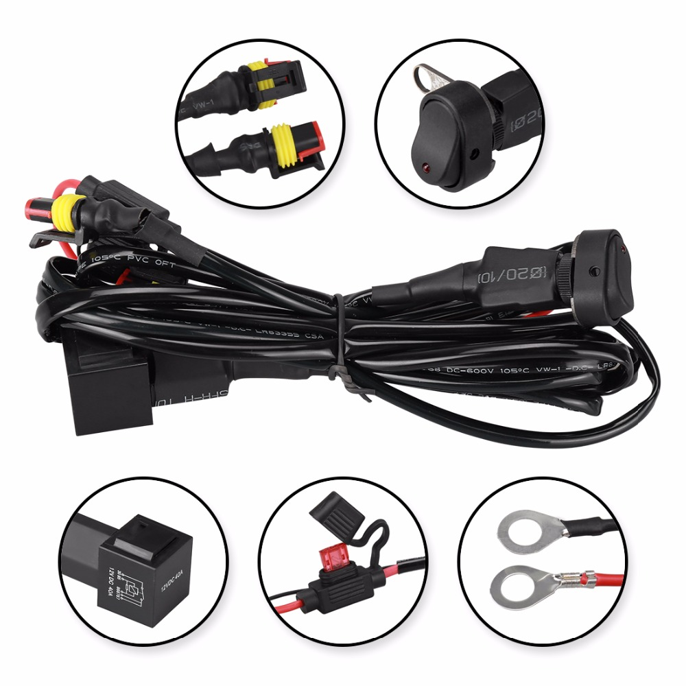 small resolution of suparee switch cable for motorcycle universal led auxiliary fog light lamp headlight wire harness connector in wire from automobiles motorcycles on