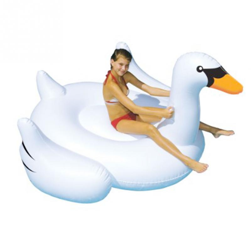 ФОТО Inflatable Swan Floating Bed Drainage Environmental Protection Material Lying Drainage Water Bed Water Sports