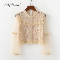 Self Duna Summer Women Lace Blouse Floral Crochet White Black Pink Hollow Out Long Sleeve Female