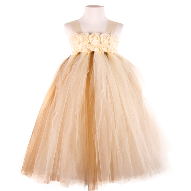 31bc363864a POSH DREAM beige Brown Flower Baby Girl Clothes for Wedding Party Princess  Casual Flower Children Ball Gown Tutu Dresses