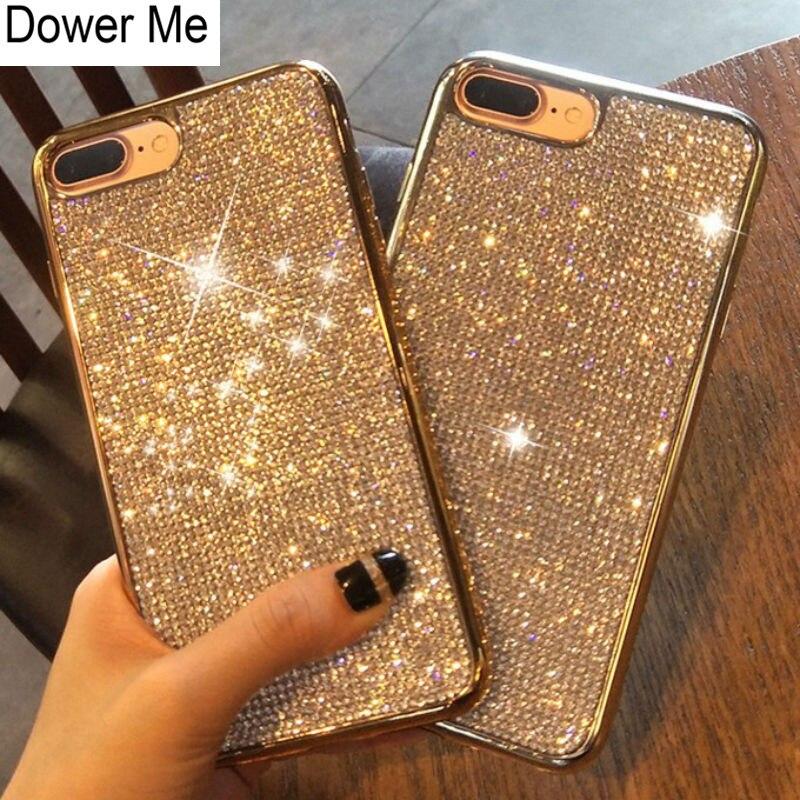 Dower Mich Mode Bling Volle Kristall Diamant Strass Weichen Galvanisieren Fall Abdeckung Für iPhone XS Max XR X 8 7 6 6 s Plus 5 5 s SE