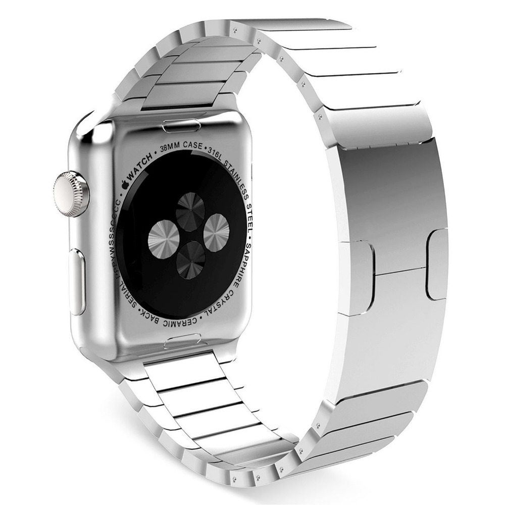 Stainless Steel Chain Shaped Watchband Original Buckle Clasp For Apple Watch iwatch bands silver With Connector