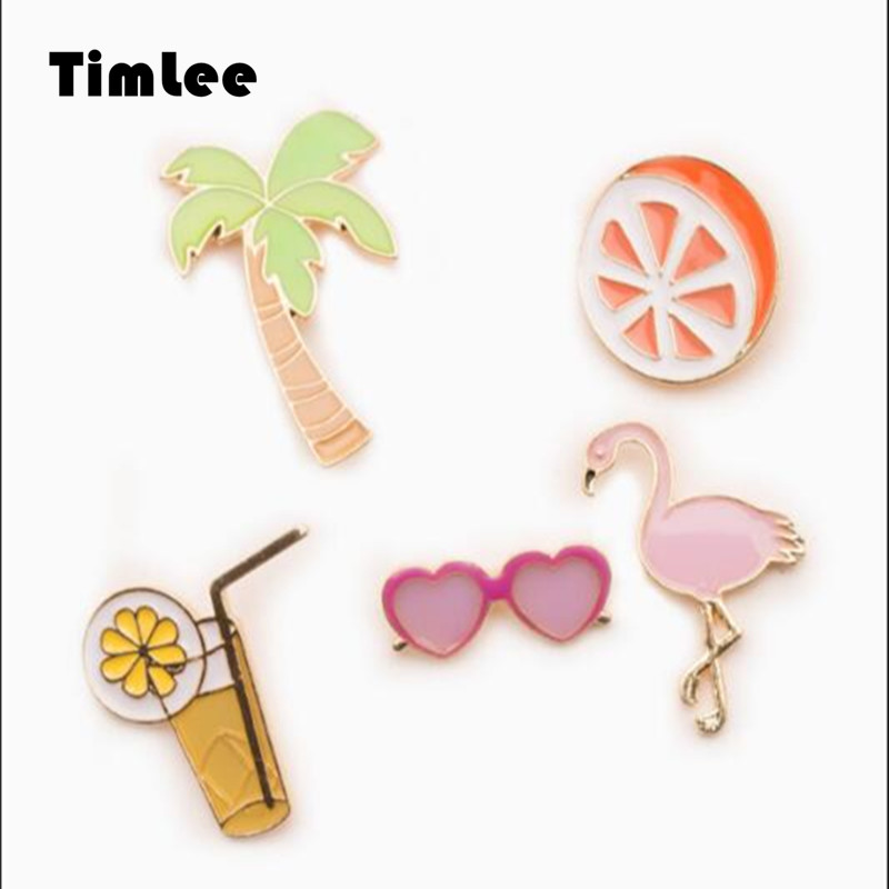 X044 Free shipping Cute Orange Fruit Sunglass Flamingon Bird Coconut Tree Vocation Beach Brooch Pins,Fashion Jewelry Wholesale