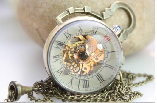 20pcs/lot New Arrival Steampunk Transparent Glass Ball Mechanical Pendant Pocket Watches Men Women Chain Gift P118
